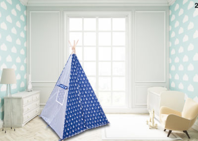 Child's room with cloud wallpaper on blue wall
